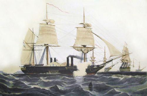 HMS Terrible (Restrike Etching) by William A. Knell
