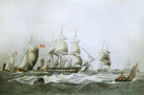 Lord Yarboroughs Yacht, Falcon (Restrike Etching) by W.J. Huggins