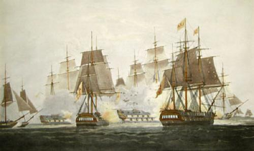Defeat of Don Miquel Squadron (Restrike Etching) by W.J. Huggins