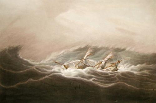 The Neptune in a Hurricane (Restrike Etching) by W.J. Huggins