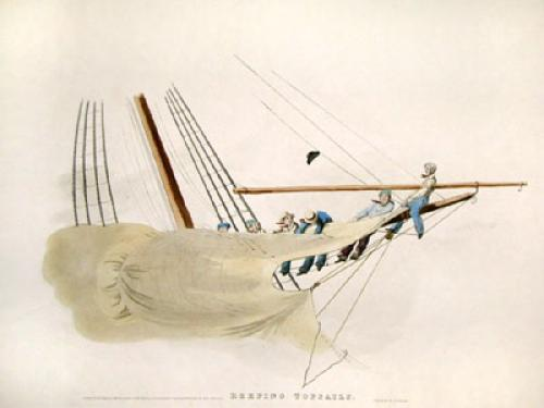 Reefing Topsails (Restrike Etching) by W.J. Huggins