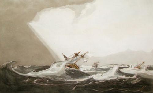 Hurricane of Port Luis, France (Restrike Etching) by W.J. Huggins
