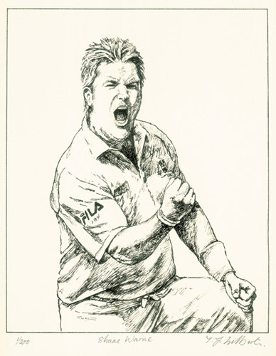 Shane Warne (Restrike Etching) by Terence Gilbert