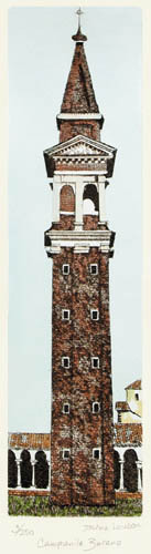 Campanile Burano (Restrike Etching) by Irvine Loudon