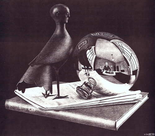 Still Life with Reflecting Sphere by M.C. Escher