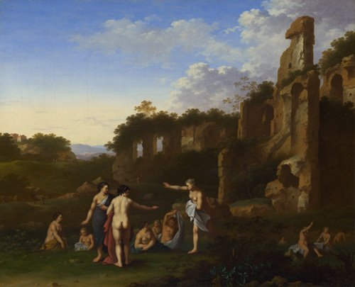 A Woman bathing in a Stream by Cornelis van Poelenburgh
