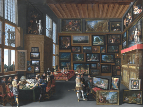 Cognoscenti in a Room hung with Pictures by Unknown Flemish