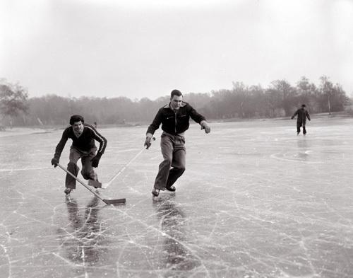 Ice hockey on frozen lake, 1954 by Mirrorpix