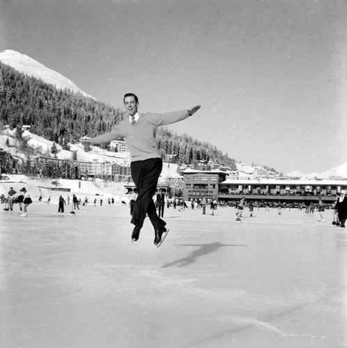 Ice skating 1953 by Mirrorpix