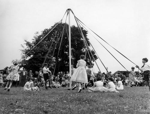 Maypole dancing, Wiltshire 1950 by Mirrorpix
