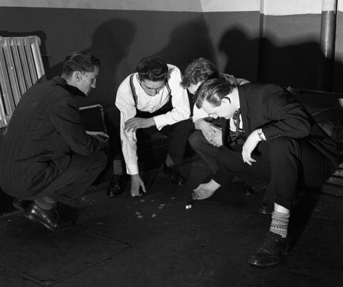 Teddy boy playing dice, 1955 by Mirrorpix
