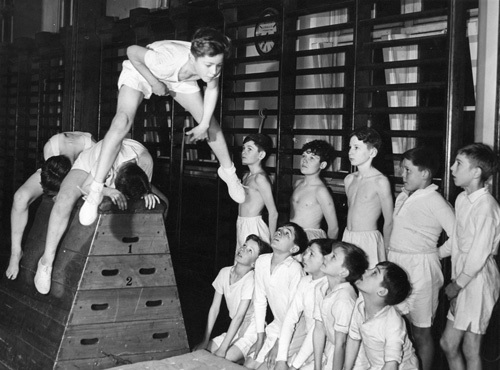 Youth club gymnastics, 1950 by Mirrorpix