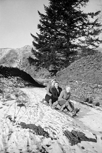 Sledging, Lake District 1946 by Mirrorpix