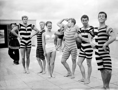 Cast of Leon Marco water show, 1950s by Mirrorpix