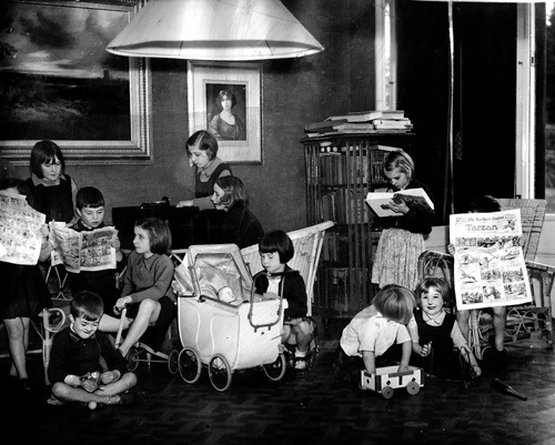 Evacuees playing, 1939 by Mirrorpix