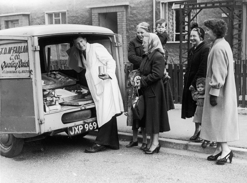 Mobile butchers shop, Glasgow 1955 by Mirrorpix