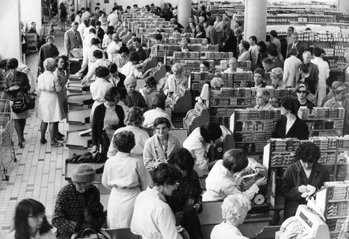 Checkouts at Sainsburys, Coventry 1967 by Mirrorpix