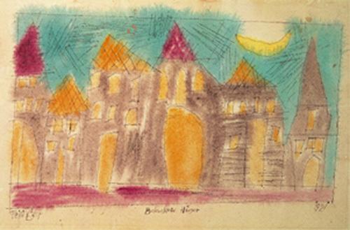 Beleuchtete Hauser, 1921 by Lyonel Feininger