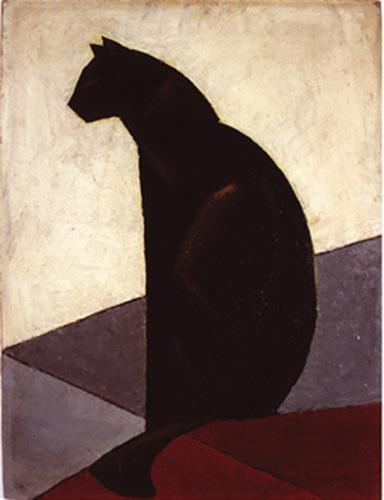 Chat noir de profil, 1924 by Marcel-Louis Baugniet