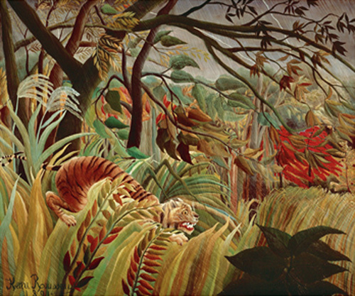 Tiger in tropical storm, 1891 by Henri Rousseau