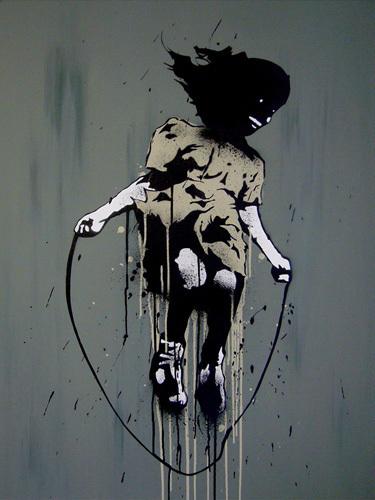 Skipping Girl by Street Art