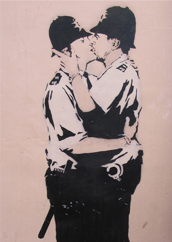 Kissing Policemen by Street Art