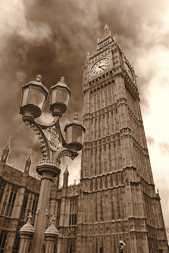 Big Ben (sepia) by Panorama London