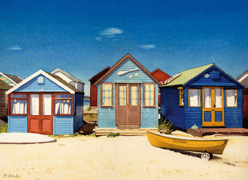 Three Beach Huts by Margaret Heath