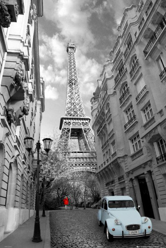 Paris - Red Girl, Blue Car by Anonymous