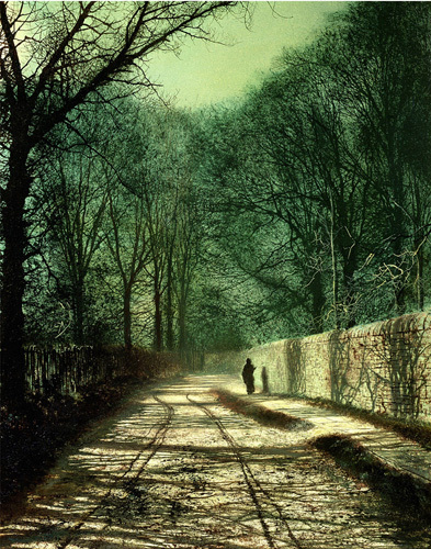 Tree Shadows in the Park Wall, Roundhay, Leeds (small) by John Atkinson Grimshaw