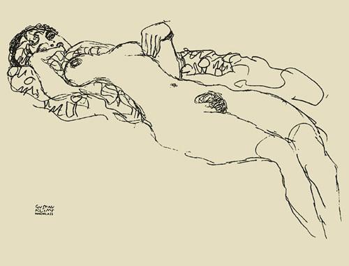 Reclining nude, 1917 by Gustav Klimt