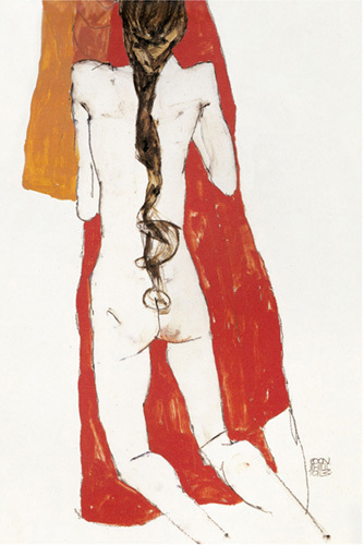 Nude Back Of Girl With Long Plait, 1913 by Egon Schiele