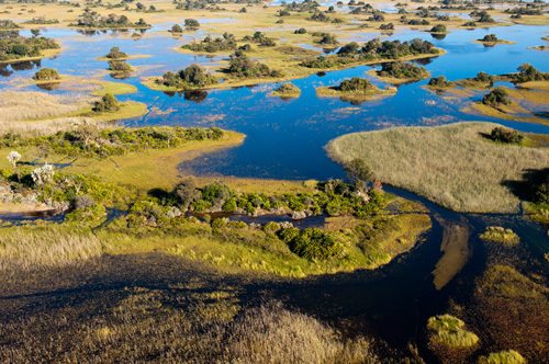 Aerial view of Okavango Delta, Botswana by Sergio Pitamitz