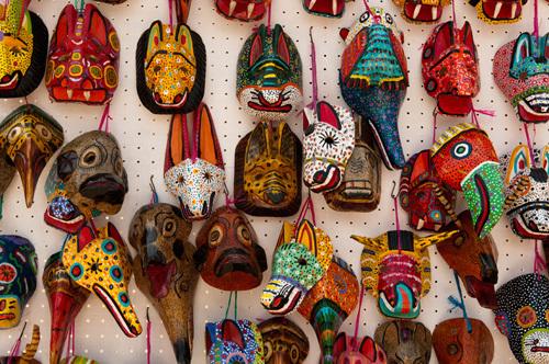 Traditional masks, Santiago Atitlan, Lake Atitlan, Guatemala by Sergio Pitamitz