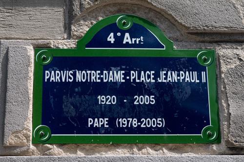 Paris Notre-Dame - Place Jean-Paul II sign, Ile de la Cite, Paris, France by Sergio Pitamitz