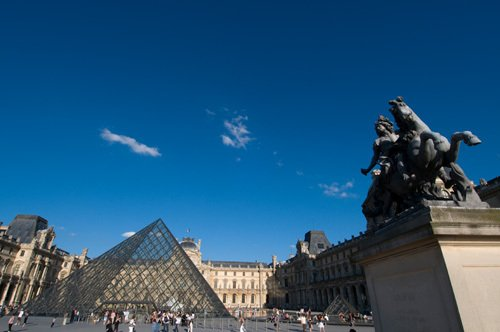 Musee du Louvre and Pei Pyramid, Paris, France by Sergio Pitamitz