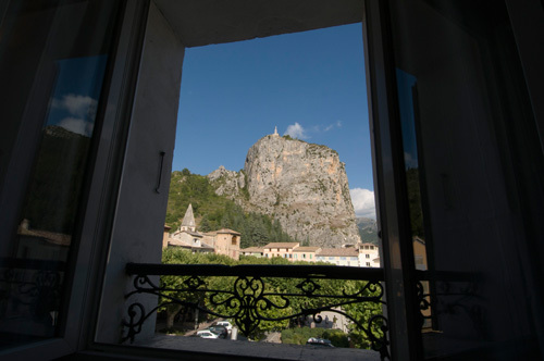 Rock of Castellane from hotel window, Provence, France by Sergio Pitamitz