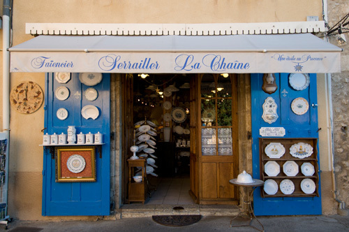 Faience pottery shop, Moustiers-Sainte-Marie, Provence, France by Sergio Pitamitz