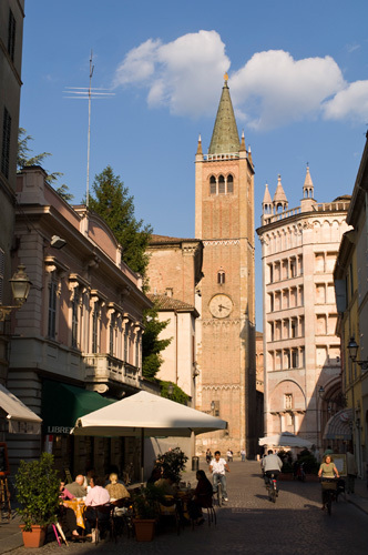 Strada Duomo, Duomo Bell Tower and Baptistry Parma, Emilia-Romagna, Italy by Sergio Pitamitz