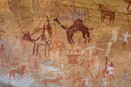 Prehistoric rock paintings, Akakus, Sahara desert, Fezzan, Libya (2) by Sergio Pitamitz