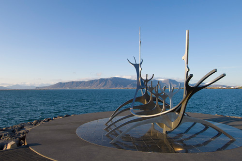 Sculpture of a Viking ship by Jon Gunnar Arnason, Reykjavik, Iceland by Sergio Pitamitz