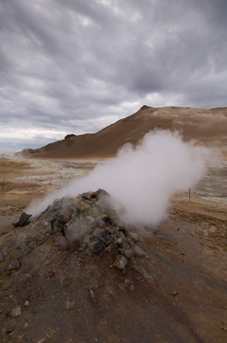 Hverir geothermal fields at the foot of Namafjall mountain, Myvatn lake area, Iceland by Sergio Pitamitz
