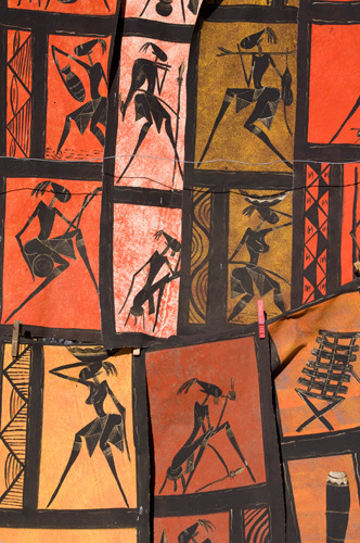 Figure prints in souvenir shop, Victoria Falls, Zambesi River, Zambia by Sergio Pitamitz