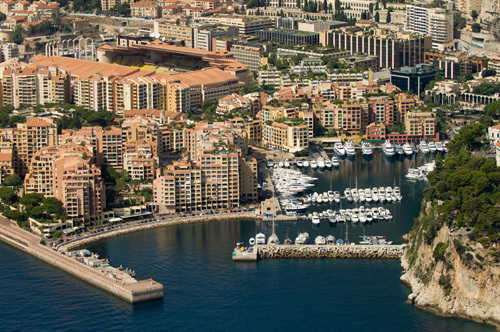 Fontvieille harbour and Louis II Stadium from the air, Cote d'Azur, Monaco by Sergio Pitamitz