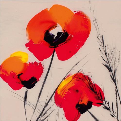 3 Poppies on Grey by Tibi Hegyesi