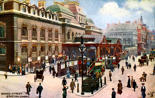 Broad Street Station, c.1900 by Gilette