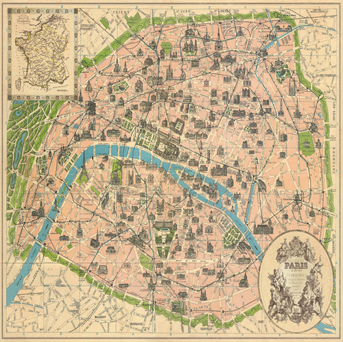 Vintage Paris Map by The Vintage Collection