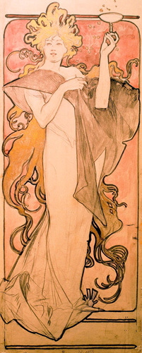 Champagne Riu-nart, 1896 by Alphonse Mucha