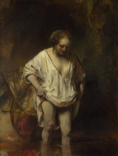 A Woman bathing in a Stream (Hendrickje Stoffels?) by Rembrandt