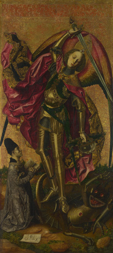 Saint Michael triumphant over the Devil with the Donor Antonio Juan by Bartolomé Bermejo
